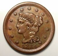 1851 BRAIDED HAIR LARGE CENT N 45 R4   VARIETY UNC DETAILS