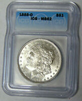 ICG MINT STATE 62 1888-O MORGAN SILVER DOLLAR NEW ORLEANS MINT 49268822201