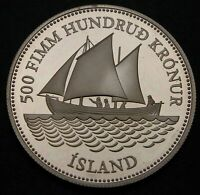 ICELAND 500 KRONUR ND 1986  PROOF   SILVER   ANN. OF ICELANDIC BANKNOTES   853
