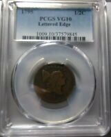 1795 LIBERTY CAP HALF CENT >LETTERED EDGE< PCGS VG10 >< SUPER FAST SHIPPING
