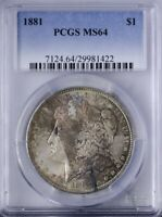 1881 MORGAN DOLLAR PCGS MINT STATE 64 MULTI-COLORED TONING