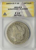 1892-S MORGAN SILVER DOLLAR $1 ANACS F12 DETAILS - SCRATCHED / CLEANED