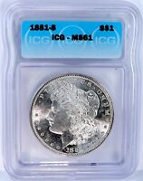 1881-S MORGAN SILVER DOLLAR - ICG GRADED & CERTIFIED. GORGEOUS COIN
