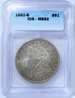 1881-S MORGAN SILVER DOLLAR - ICG GRADED MINT STATE 62. BRILLIANT UNCIRCULATED.