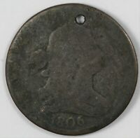 1806 DRAPED BUST COPPER HALF CENT 1/2C   HOLED
