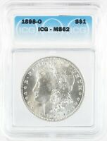 1898-O MORGAN DOLLAR SILVER S$1 UNCIRCULATED ICG MINT STATE 62