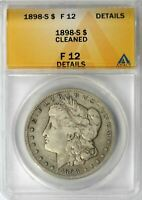 1898-S MORGAN SILVER DOLLAR $1 ANACS F12 DETAILS - CLEANED