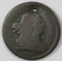 1807 DRAPED BUST COPPER HALF CENT 1/2C   HOLED