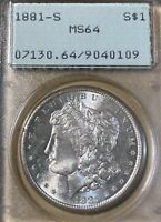 1881-S OGH PCGS MINT STATE 64 MORGAN SILVER DOLLAR