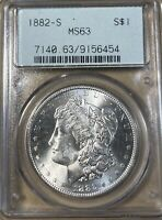 1882-S OGH PCGS MINT STATE 63 MORGAN SILVER DOLLAR