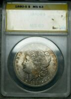 1880-S MORGAN DOLLAR SILVER TONED ---- ANACS MINT STATE 63 SLABBED GRADED ---- 036A