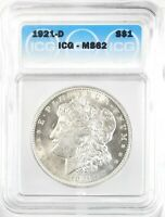 1921-D MORGAN DOLLAR SILVER S$1 UNCIRCULATED ICG MINT STATE 62