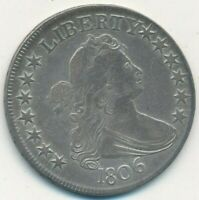 1806 DRAPED BUST SILVER HALF DOLLAR-POINTED 6 WITH STEM- COIN SHIPS FREE
