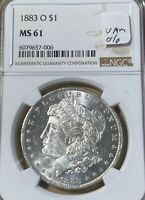1883-O VAM-4 O/O NOT NOTED ON HOLDER NGC MINT STATE 61 MORGAN SILVER DOLLAR