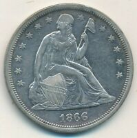 1866 SEATED LIBERTY SILVER DOLLAR- LIGHTLY CIRCULATED-SHIPS FREE