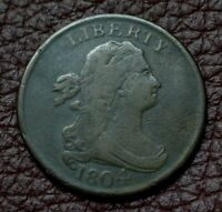 1804 DRAPED BUST HALF CENT, FINE    CROSSLET 4 WITH STEMS