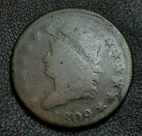 1809 CLASSIC HEAD LARGE CENT     DECENT EXAMPLE OF THIS KEY DATE