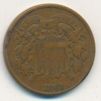1869 TWO CENT 2 CENT PIECE-  CIRCULATED TYPE COIN-SHIPS FREE INV:2