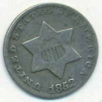 1852 3 CENT THREE CENT SILVER PIECE-  CIRCULATED TYPE COIN-SHIPS FREE