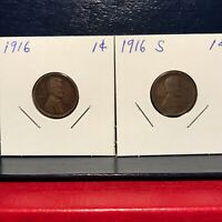 1916, 1916-S  LINCOLN WHEAT BACK CENTS