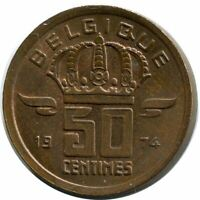 50 CENTIMES 1974 FRENCH TEXT BELGIUM COIN BA456.U