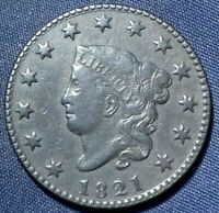 1821 LARGE CENT 1  NICE COIN