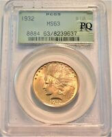 1932 $10 PCGS MS 63 GOLD INDIAN EAGLE OLD GREEN HOLDER UNCIR