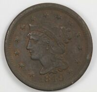 1849 BRAIDED HAIR US COPPER EARLY LARGE CENT 1C