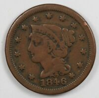 1846 BRAIDED HAIR US EARLY COPPER LARGE CENT 1C
