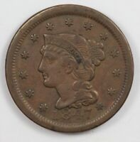 1847 BRAIDED HAIR US EARLY COPPER LARGE CENT 1C