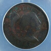 ONE CENT 1795 USA ANACS F 12 DET. S 77 FLOWING HAIR UNITED S