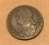 1787 CONNECTICUT COLONIAL COPPER COIN   MAILED BUST