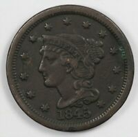 1845 BRAIDED HAIR EARLY US COPPER LARGE CENT 1C