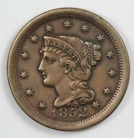 1852 BRAIDED HAIR US EARLY COPPER LARGE CENT 1C   BETTER GRA