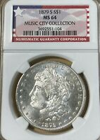 1879-S NGC MINT STATE 64 MUSIC CITY COLLECTION MORGAN SILVER DOLLAR