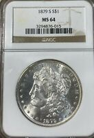 1879-S NGC MINT STATE 64 MORGAN SILVER DOLLAR