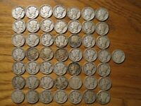 ROLL OF 50 MERCURY DIMES 90  SILVER MIXED DATES/MM AVERAGE FINE