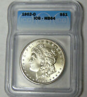 ICG MINT STATE 64 1902-O MORGAN SILVER DOLLAR NEW ORLEANS MINT 5669314401