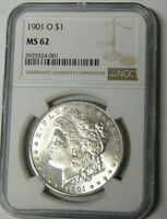 NGC MINT STATE 62 1901-O MORGAN SILVER DOLLAR NEW ORLEANS MINT 5929324-001