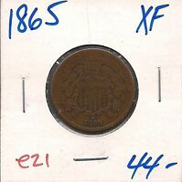1865 TWO CENT PIECE   EXTRA FINE   E21