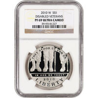 2010 W US VETERANS DISABLED FOR LIFE COMMEM PROOF SILVER DOLLAR   NGC PF69 UCAM