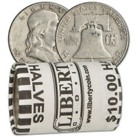 90  SILVER FRANKLIN HALF DOLLARS   ROLL OF 20   $10 FACE VALUE