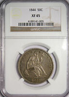 1844 SEATED LIBERTY HALF DOLLAR   PROBLEM FREE  DATE   NGC XF45   REDUCED
