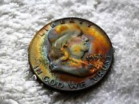 1958 D SILVER FRANKLIN HALF TONED COIN 12.5G ACCURATE WEIGHT   FBL