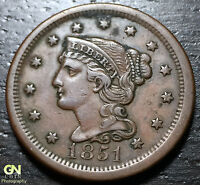1851 BRAIDED HAIR LARGE CENT     MAKE US AN OFFER!  B1536