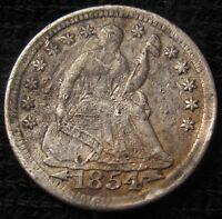 1854  SEATED LIBERTY HALF DIME   AU DETAILS 13349