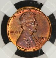 1958 D LINCOLN WHEAT BACK CENT NGC MS64 BN BEAUTIFUL TONED PENNY! 2N