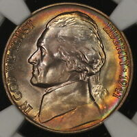 1941 D JEFFERSON NICKEL NGC MS67 5FS FULL STEPS RADICAL RAINBOW TONED!