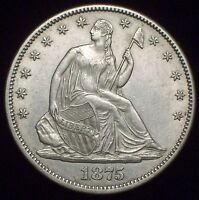 1875 CC SEATED LIBERTY SILVER HALF DOLLAR   STRONG AU/UNC DETAILING AUTHENTIC