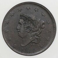 1817 N-1 ANACS EF 45 MATRON OR CORONET HEAD LARGE CENT COIN 1C